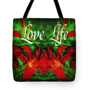 Love Life Mirrored Lilies Tote Bag