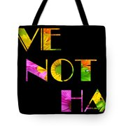 Love Not Hate Crazy Daisies Black Tote Bag