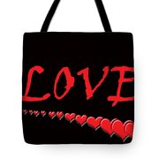 Love On Black Tote Bag