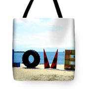 Love On The Beach Found Art Outer Banks Tote Bag