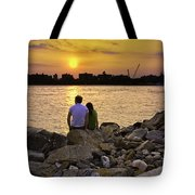 Love On The Rocks In Brooklyn Tote Bag by Madeline Ellis