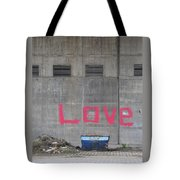 Love - Pink Painting On Grey Wall Tote Bag
