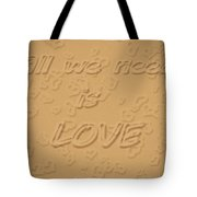 Love Quote Typography On Sand Tote Bag