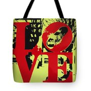 Love - Red On Lime Tote Bag