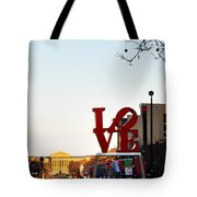 Love Statue And The Art Museum Tote Bag