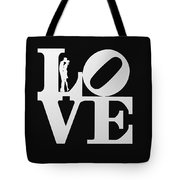 Love Typography And Kissing Couple Tote Bag