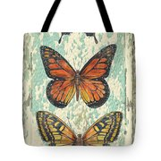 Lovely Butterfly Trio On Tin Tile Tote Bag