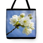 Lovely White Apple Blossoms On Branch Tote Bag