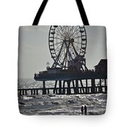 Lovers And A Surfer At Pleasure Pier Tote Bag