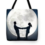 Lovers And Full Moon Tote Bag