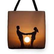 Lovers And Setting Sun Tote Bag