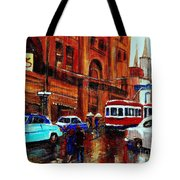 Lovers In The Rain Stroll St Catherine Street Near Morgans Department Store Vintage City Scene Art Tote Bag
