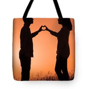 Lovers Making A Heart Shape At Sunset Tote Bag
