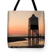 Low Lighthouse Sunset Tote Bag
