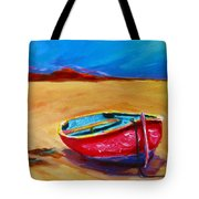 Low Tides - Landscape Of A Red Boat On The Beach Tote Bag by Patricia Awapara
