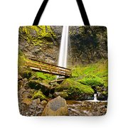 Lower Angle Of Elowah Falls In The Columbia River Gorge Of Oregon Tote Bag