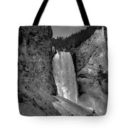 Lower Falls In Yellowstone In Black And White Tote Bag