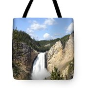 Lower Falls In Yellowstone National Park Tote Bag