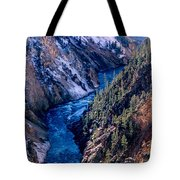 Lower Falls Into Yellowstone River Tote Bag
