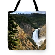 Lower Falls On The Yellowstone River Tote Bag