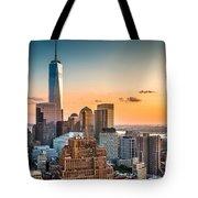 Lower Manhattan At Sunset Tote Bag