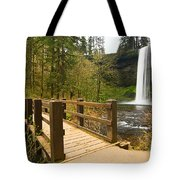 Lower South Waterfall With Footbridge In Oregon Columbia River Gorge. Tote Bag