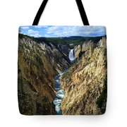 Lower Yellowstone Falls Panorama 2 Tote Bag