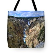 Lower Yellowstone Falls Panorama Tote Bag