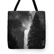 Lower Yosemite Falls Bw Tote Bag