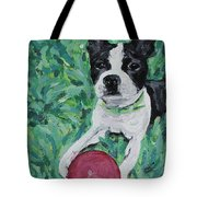 Lucy With Ball In Grass Tote Bag