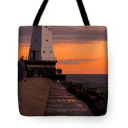 Ludington Pier And Lighthouse Tote Bag