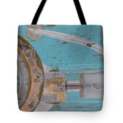 Lug Nut Wheel Left Turquoise And Copper Tote Bag