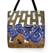 Lug Nuts On Grate Vertical Peach And Purple Tote Bag