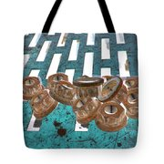 Lug Nuts On Grate Vertical Turquoise Copper Tote Bag
