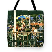 Lunch Party At The La Belle Gueule Brasserie Terrace - Park Your Bike And Enjoy The Sunny Day Tote Bag