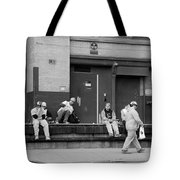 Lunch Time In Black And White Tote Bag