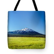 Lush Green Meadow And Mount Bachelor Tote Bag