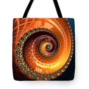 Luxe Fractal Spiral Brown And Blue Tote Bag