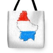 Luxembourg Painted Flag Map Tote Bag