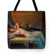 Lying Nude In A Bed Of Roses Tote Bag by Delphin Enjolras
