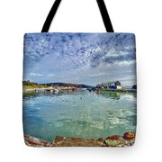 Lyme Regis Harbour -- Painterly Tote Bag