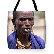 Maasai Man Portrait In Tanzania Tote Bag