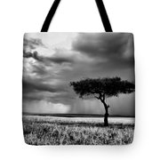 Maasai Mara In Black And White Tote Bag