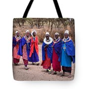 Maasai Women In Front Of Their Village In Tanzania Tote Bag