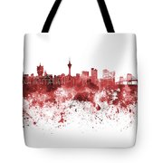Macau Skyline In Red Watercolor On White Background Tote Bag