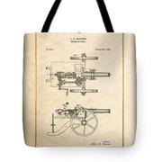 Machine Gun - Automatic Cannon By C.e. Barnes - Vintage Patent Document Tote Bag