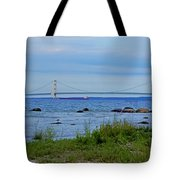 Mackinaw Bridge At Dusk Tote Bag