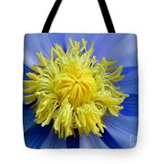 Macro Photograph Of  Blue Waterlily Tote Bag