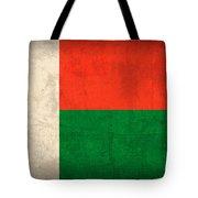 Madagascar Flag Vintage Distressed Finish Tote Bag