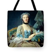 Madame De Sorquainville, 1749 Oil On Canvas Tote Bag
